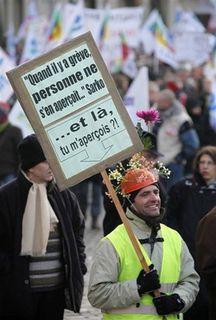 Lille greviste, 29 janvier. Photo: Pascal Rossignol/Reuters